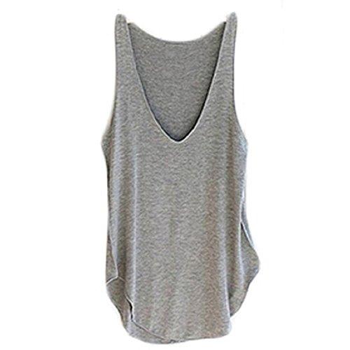 Ularma 2016 moda verano Dama de mujer sin mangas con cuello en v chaleco caramelo sueltas blusas camiseta (gris, tamaño
