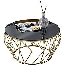 meubles minimalistes modernes modernes de balcon de salon de table basse en verre de fer forg