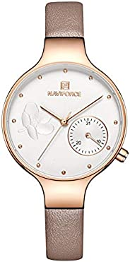 Naviforce Women's White Dial Genuine Leather Analog Watch - NF5001-R