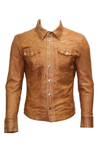 Kuhfell Cowboy-stiefel (Herren Trucker Schlank Passen Lässige Bräunen Lederhemd Jeansjacke L)
