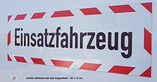 Preisvergleich Produktbild UvV Kfz reflektierendes Magnetschild | Schild magnetisch | Einsatzfahrzeug TüV geprüfte Magnetfolie bis zu 200 kmh (45 x 15 cm)
