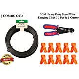 Trustware™ Rope Wire for Drying Hanging Clothes/Clothesline/Washing line/Rope Wire for Laundry,Terrace,Balcony,Indoor,Outdoor |Combo of 3| 30M Heavy Duty Steel Wire,Hanging Clips 10 Pcs & 1 Cutter.