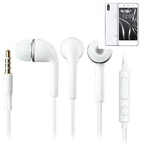 In Ear headphones para BQ Aquaris X5 Plus, con micrófono + control de volumen, blanco | 3.5mm auriculares micrófono omnidireccional, Studs auriculares auriculares estéreo sonido grave universal de control de volumen de los auriculares aplicación
