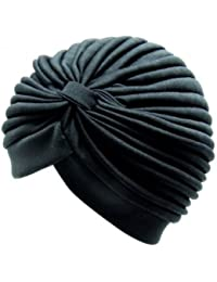 Adults one size black pleated turban with ruched design at the front.