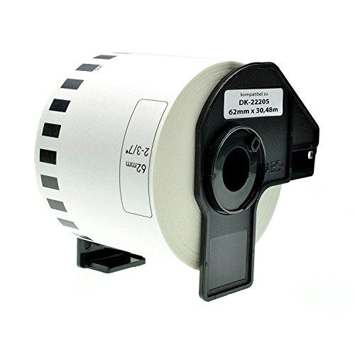 Azprint Endlosetiketten Papier Kompatibel für Brother DK22205 DK-22205 (62mm breit, 30,48m lang) für Brother P Touch QL-Etikettendrucker QL500 QL550 QL560 QL570 QL580N QL650TD QL700 QL720NW QL1050 QL1060N / Thermopapier mit Kunststoffhalter