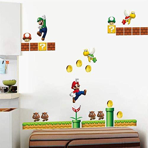 WUDHF Spiel Super Mario Wandtattoos Für Kinderzimmer Dekorative Aufkleber Peel and Stick Wohnkultur PVC Poster Wandbild Kunst