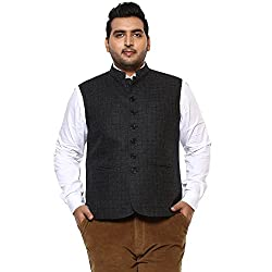 John Pride Men Black Coloured Nehru Jacket (Sizes: 3XL- 6XL)