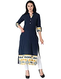M&D 3/4 Sleeves Women's Casual Printed Cotton Kurti(Navy Blue)