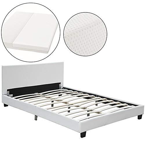 ArtLife Polsterbett Barcelona mit Kaltschaum-Matratze | 140 x 200 cm | weiß | Bett mit Lattenrost, Kopfteil & Kunstleder | Einzelbett Jugendbett