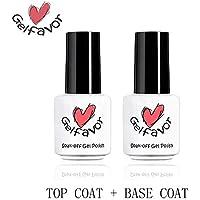 Gelfavor Top Base Coat Primer 2 PCS Nail Art UV Gel Varnish Nail Polish Set Transparent Nails Protect Long Lasting for…
