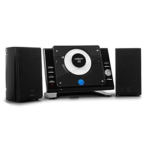 oneConcept Vertical 70 Stereoanlage Kompaktanlage (USB, MP3-fähiger CD-Player, AUX, UKW-Radio, Fernbedienung) schwarz