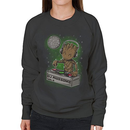 Guardians Of The Galaxy DJ Awesome Baby Groot Women's Sweatshirt Anthracite