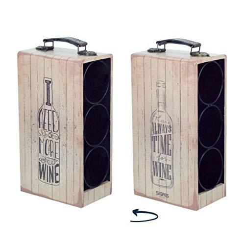 CAPRILO Botellero Decorativo para Botellas de Vino Botellas-Frases. Muebles Auxiliares. Menaje de Cocina. Regalos Originales. 33 x 18 x 11 cm.