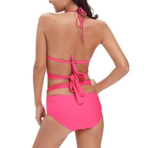 Uranus Damen Halfter Criss Cross Ausgeschnitten Zwei Stück Crop Top und Boden Bikini-Set Badeanzug Bandage Rose Rot