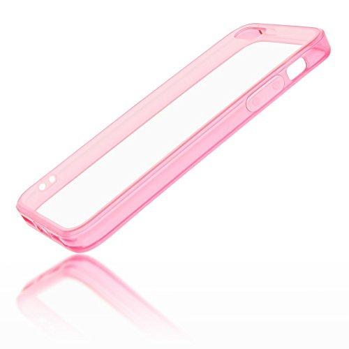 iPhone 8 Plus / 7 Plus Hülle Handyhülle von NICA, Slim Silikon Case Transparente Rückseite & Bumper, Schutz Etui Dünn Durchsichtig, Handy-Tasche Back-Cover für Apple iPhone 7+ / 8+ - Grau Transparent / Pink