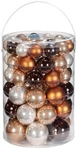 Inge Glas 15060E460 - Set palle di Natale, 60 pezzi, 4/5/6/7 cm, colore: Cappuccino