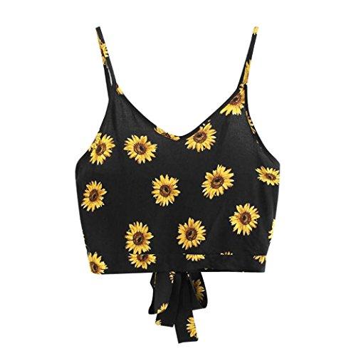 TUDUZ T-Shirt Damen Sommer Damen V-Ausschnitt Blumendruck Crop Top Leibchen Bluse (Schwarz-D, S) (Kleider Für Teenager Mädchen)
