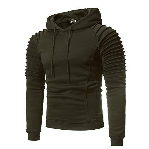 MRULIC Kapuzenpulli Einschulung Hooded Kapuzenpullover Langarm Casual Sweatshirt für Herren RH-039(Armeegrün,EU-52/CN-3XL)