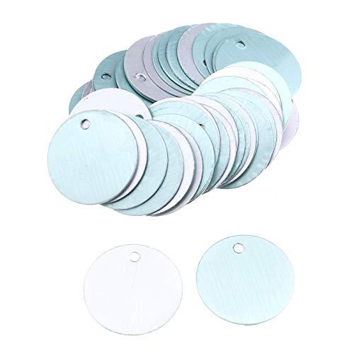 50 stücke Aluminium 1 Zoll Silber Flache Runde Plättchen Stanzen Münze Charme mit 2,5mm Loch
