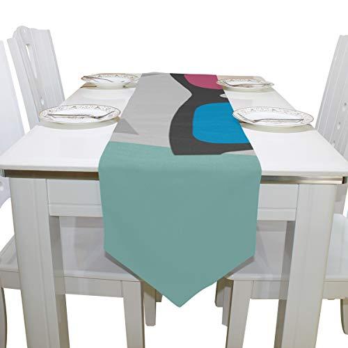 Yushg Kühle Katze Tragen Brille Kommode Schal Tuch Abdeckung Tischläufer Tischdecke Tischset Küche Esszimmer Wohnzimmer Haus Hochzeit Bankett Dekor Indoor 13x90 Zoll
