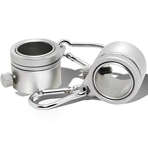 Anley? Aluminium Fahnenmastbefestigungsringe, 360° Anti-Wrap mit Karabinerhaken für 1 Zoll Durchmesser Fahnenmast (Silber, 2er Pack)
