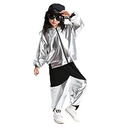 Kinder Tanz Kostüme Hip-Hop Jazz Performance Halloween Malen mit Kapuze Outfits (Silber-, (Tanz Performance Kostüm Kinder)