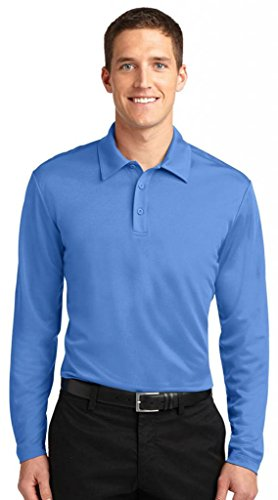 Hafenbehörde Men's Silk Performance Touch Long Sleeve Polo Carolina Blue