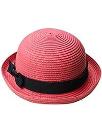Yuncai Donne Cupola Estivo Cappelli di Paglia Bombetta Cappello della  Spiaggia 67055d43b373