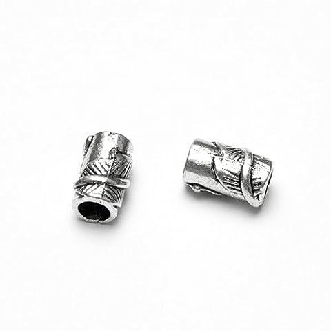 Metallperle Spacer Charms Tube Blatt Antiksilber Großloch (10051) 11x7mm 5Stk.