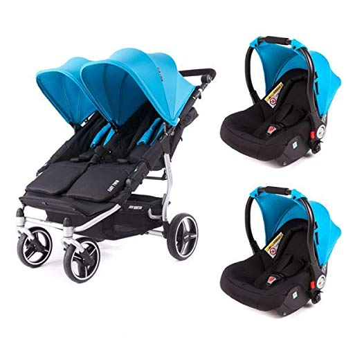 Poussette double Baby Monsters Easy Twin 3S Reversible - Chassis Silver + 2 sièges auto Luna Turquoise
