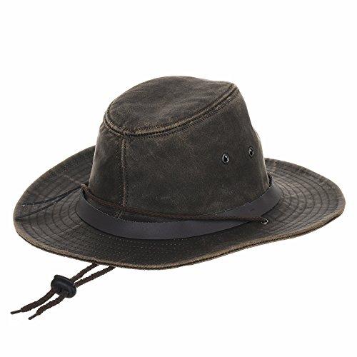WITHMOONS Chapeau de Cowboy Indiana Jones Hat Weathered Faux Leather Outback Hat AL8343 Marron