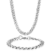 Joyas Potok en acero inoxidable Juego de cadenas y collares y brazaletes para mujer hombre pulseras de plata blanco 8mm de ancho y 21,5cm para pulsera, 61cm para collar