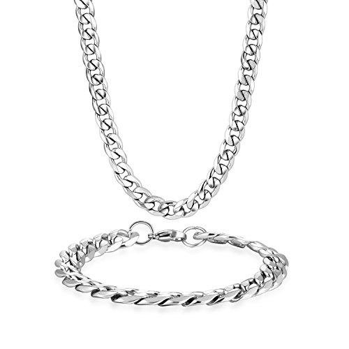Potok Schmuck Edelstahl Ketten Set von Halsketten und Armketten für Damen Herren silberweißen Armbändern 8mm breit und 21,5 cm für Armband, 61cm für Halskette