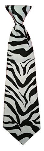 Kinderkrawatte Tiere Leopard Spinne Zebra Krawatte Kinder Jungen Gummiband gebunden dehnbar Konfirmation (Weiß Schwarz Zebra)