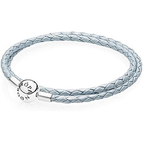 PANDORA - Doble cierre de pulsera de cuero trenzado azul claro redondo de plata 925/1000 PANDORA 590734CBL-D - 38