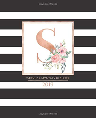 """Weekly & Monthly Planner 2019: Black and White Stripes with Rose Gold Monogram Letter S and Pink Flowers (7.5 x 9.25"""") Horizontal Striped AT A GLANCE Personalized Planner for Women Moms Girls"""