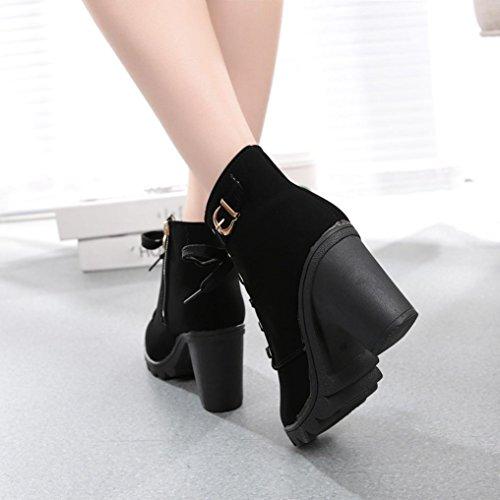Vovotrade Delle donne tacco alto Stivaletti Scarpe fibbia della piattaforma Nero