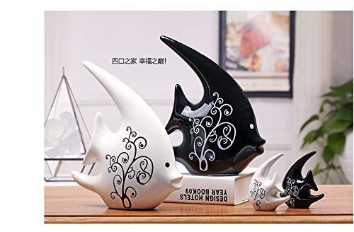 Statues vase ornements sculptures decoration accessoires pour la maison salon décoration décoration cadeau créatif céramique moderne noir et blanc couple À embrasser des poissons 25 * 21cm 10 * 10cm