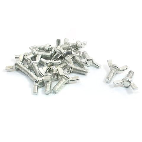 Pierre Humide Cutter Pièces en métal Aile Vis ton argent 8mm x 20mm Lot de 20