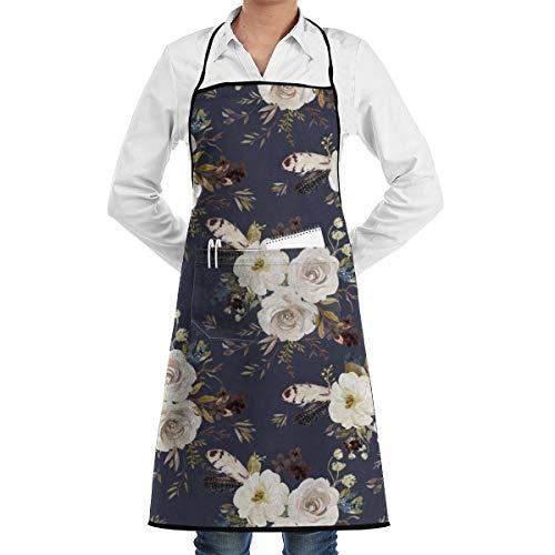 Socksforu 4 Herbst Ernte Blumen - gedämpfte Marine dauerhaft einstellbar waschbar Küche Overlock Schürze Tasche Kochen Backen Garten Restaurant Unisex -