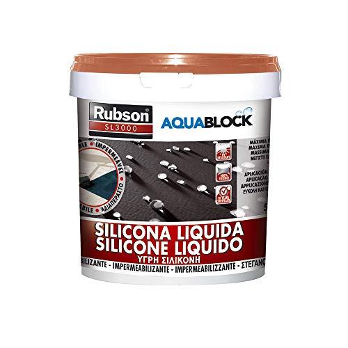 Rubson Aquablock SL3000, silicona líquida impermeabilizante color teja, 5 kg