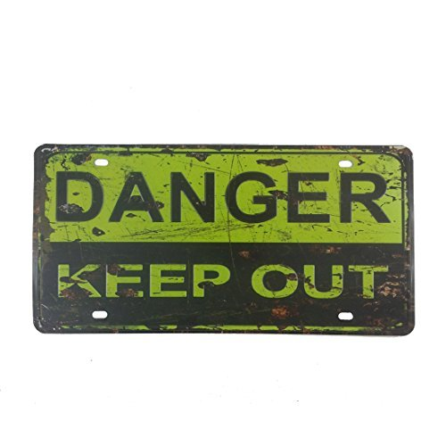 15,2x 30,5cm Vintage Feel Rustikal Home, Bad und Bar Wand Decor KFZ Nummernschild Souvenir Metall blechschild Schild (Danger, Keep Out)