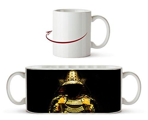 Dark goldene Samurai Rüstung als Motivetasse 300ml, aus Keramik weiß, wunderbar als Geschenkidee...