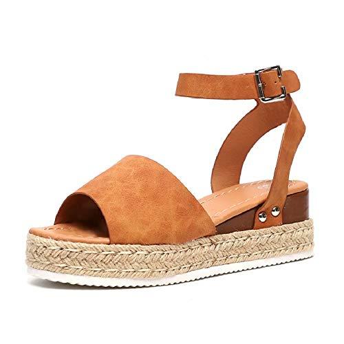 Sandalen Damen Keilabsatz Sommer Plateau Espadrille Sandaletten Flache Leder Peep Toe 5 cm Keil Espadrille Sommerschuhe Bequeme Braun 42