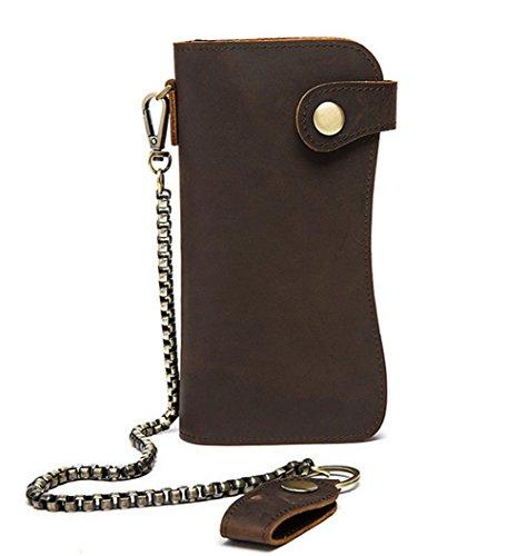 c398c47011a93 Edmen Lang Kette Crazy Horse Leder Überfalle Geldbörse Rind-Leder  Scheintasche Brieftasche