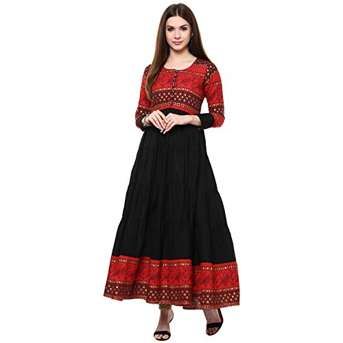 IVES Red Printed Cotton Anarkali Kurti for Women