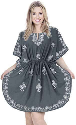 LA LEELA Damen bestickt alle Rayon Tunika lose oben Abend casual dress Bikini Kimono Badebekleidung Mutterschaft Schlafrock vertuschen Lounge Bademode kurz Kaftan grau in 1 100%