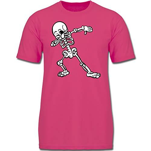 Anlässe Kinder - Dabbing Skelett - 104 (3-4 Jahre) - Fuchsia - F130K - Jungen Kinder T-Shirt