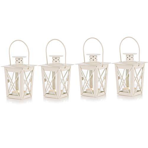Sfeexun Mini-Kerzenlaterne, Vintage-Design, Metall, für Teelichter, Teelichthalter und Teelichthalter, Dekoration für Geburtstag, Partys, Hochzeit, entspannendes Spa 4 Pcs weiß
