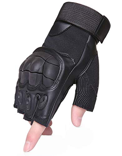 LOUMVE Halbfinger Motorradhandschuhe Militärische Taktische Lederhandschuhe Training Armee Schießen Outdoor Handschuhe Anti Rutsch Schwarz M